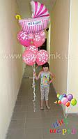 """Фонтан из 5 шариков + фольгированный шар с надписью """"It's a girl"""""""