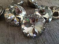 Стразы мебельные пуговицы , огранка Алмазная Роза , 45 мм серебро