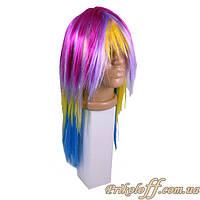 Парик разноцветный «Хиппи», длинная челка