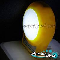 Cветодиодный ночник white 220V. Ночник от сети. LED ночник с датчиком., фото 1