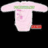 Детский боди с длинным закрытым рукавом р. 62 с начесом ткань ФУТЕР (байка) 100% хлопок ТМ Алекс 3188 Розовый