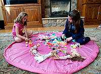 Сумка-коврик для организации игр и хранения лего и других игрушек (розовый)