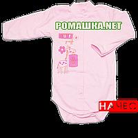 Детский боди с длинным рукавом р. 80-86 с начесом ткань ФУТЕР (байка) 100% хлопок ТМ Авекс 3188 Розовый 86