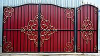 Ворота кованые с профлистом