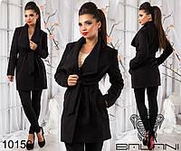 Стильное кашемировое женское пальто с поясом и карманами., фото 1