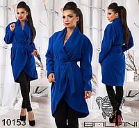 Пальто кашемировое женское  с поясом и округлым низом., фото 1