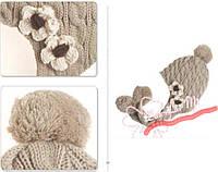 Шапка, шапочка демисезонная, бежевая для девочек, р. 2-10 лет