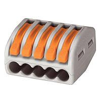 Клемма быстрого монтажа WAGO 5 монтажных отверстий, 400В, 32А, 0,14-4 mm ST140