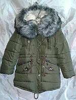 Куртка парка зимняя для девочки 8-12 лет,Хаки