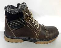 Ботинки подростковые зимние кожаные на замочке коричневые и черные Uk0083