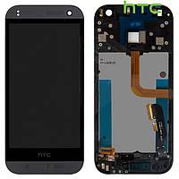 Дисплейный модуль (дисплей + сенсор) для HTC One M8 mini, с передней панелью, черный, оригинал