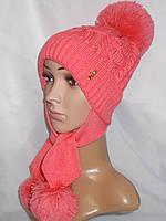 Вязаная шапка с ушами на флисе(подросток)