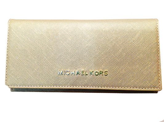 405e27f6a619 Кошелек женский Michael Kors EP-115 золотистый на кнопке кожвинил с  монетницей на молнии внутри