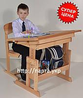 Стол парта и стул регулируемые, дерево бук, ДСП, 90 см., фото 1