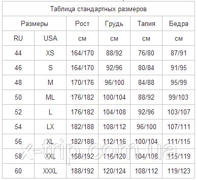 Размерная таблица Marlin