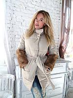 Женская куртка весна осень 2016 парка пальто меховая  норка 46