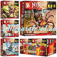 Конструктор Ninja/Ниндзя (фигурки героев с транспортом): 4 вида, 68 деталей