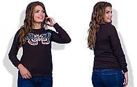 Женская коричневая кофта с бабочкой больших размеров. Арт-2503/36