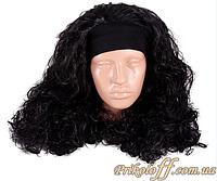 Женский парик черный с повязкой, длинный