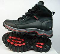 Ботинки подростковые Ecco зимние кожаные черные и бежевые на меху E0009
