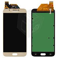 Дисплейный модуль (дисплей + сенсор) для Samsung Galaxy A8 A800F, золотистый, оригинал
