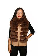Жилет кожаный с мехом Oscar Fur 307 Светло-Коричневый, фото 1