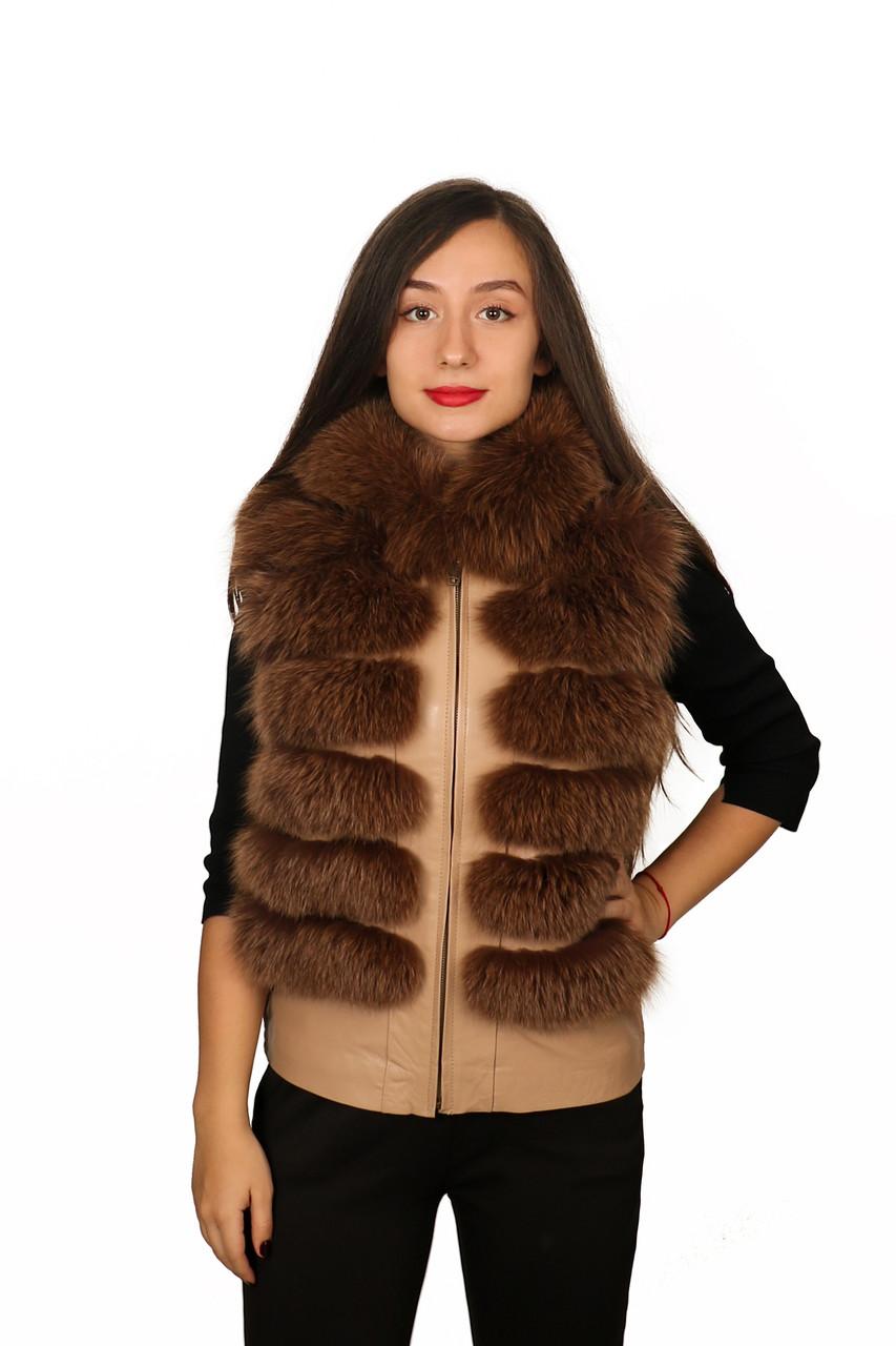 Жилет кожаный с мехом Oscar Fur 307 Светло-Коричневый