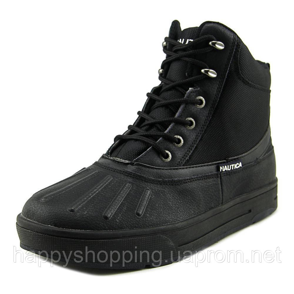 Черные кожаные осенние  мужские ботинки Nautica