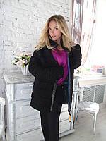 Стильная шуба пальто из натурального каракуля поперечка