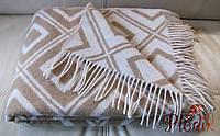 Шерстяной плед 140х200 Vladi жаккард Ізумруд бежевый