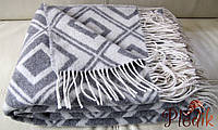 Шерстяной плед 140х200 Vladi жаккард Ізумруд серый