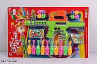 Детское ружье с шариками 648H: кегли для боулинга, шарики, планшетка 56х36 см