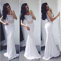 Платье вечернее в пол , ткань дайвинг со вставками гипюра, цвет белый АА № 0943