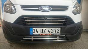 Цельная решётка в бампер Ford Tourneo Custom (нерж.)