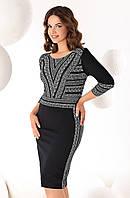 Женское платье черного цвета с рисунком. Модель Mesa Top-Bis, коллекция осень-зима 2016-2017.