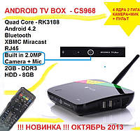 CS968 4ядра 2гб DDR3 LAN USB Camera 2МП + MIC AV-out пульт +НАСТРОЙКИ I-SMART
