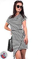 Платье белое в черную полоску наискосок до колен. Арт-2514/36