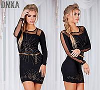 Платье нарядное короткое, ткань поливискоза ,цвет черный, производство Турция пояс в комлекте ДГ № 3029