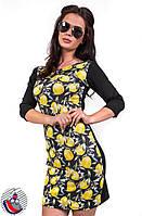 Платье черное с рисунком лимон до колен с рукавом 3 четверти. Арт-2515/36