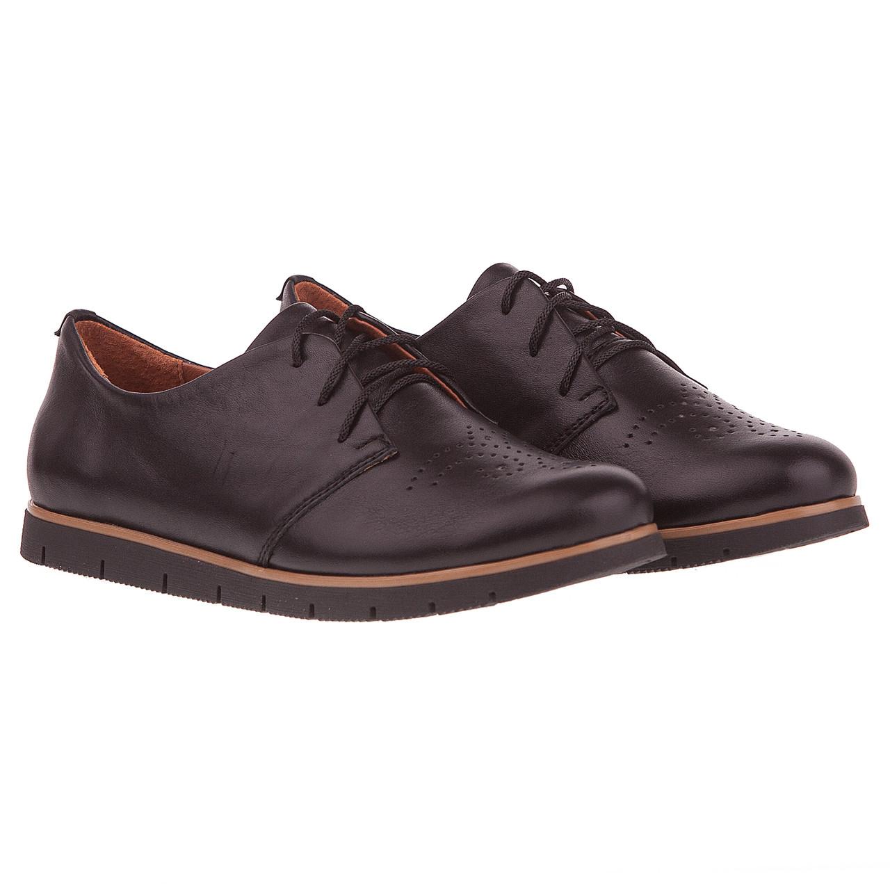 Туфли женские на шнурках Kento (стильные, комфортные, легкие, удобные,  черные, кожаные) 06dce3585a7