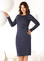 Женское платье-футляр темно-синего цвета с длинным рукавом. Модель Teodora Top-Bis, осень-зима 2016-2017.