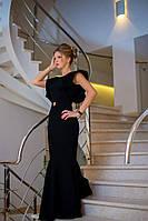 Платье в пол для незабываемого вечера. Воздушный волан на одно плечо, ткань креп, 4 цвета Бис № 7538