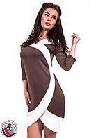 Платье коричневое с белыми вставками до колен. Арт-2513/36