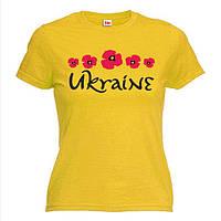 """Женская футболка """"Ukraine (Україна і маки)"""". Размер М"""