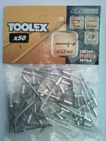 Заклёпка TOOLEX вытяжная алюминевая Ассортимент - 3.2 мм; 4.0 мм; 4.8 мм; 5.0 мм;