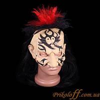 Страшная маска «Черные волосы, красный чуб»