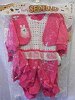 Детский костюм-человечек для девочки (3, 6, 9 мес.) с шапкой
