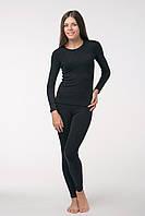 Термобелье женское черное мод.512 Плоские швы, Женский, XS(42-44), Зима, Комплект