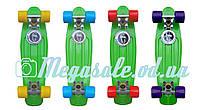 Скейтборд/скейт пенни борд (Penny Board) пенни Fish: салатовый/фиолетовый
