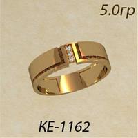 Модное гладкое женское золотое кольцо с патиной